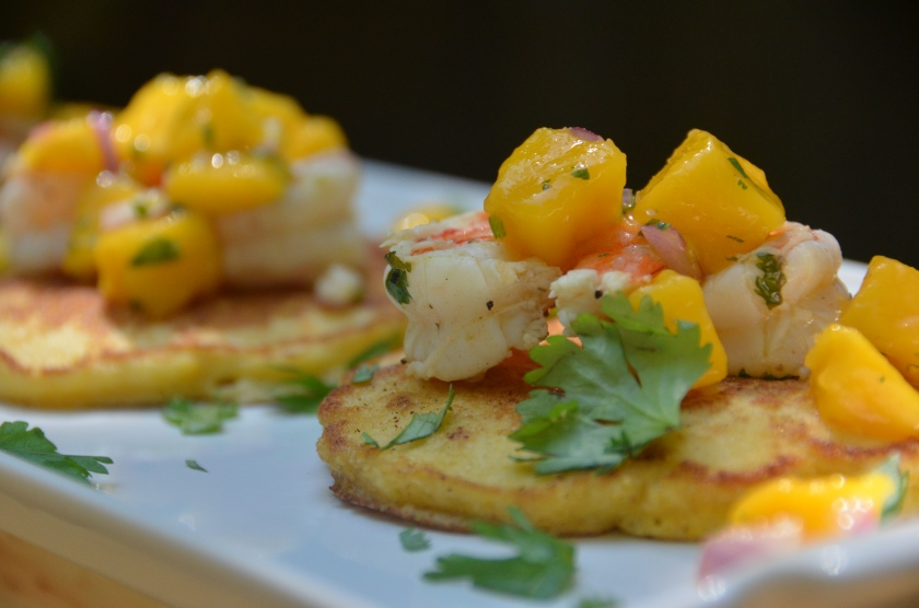 corn cakes with tequila lime shrimp and mango salsa