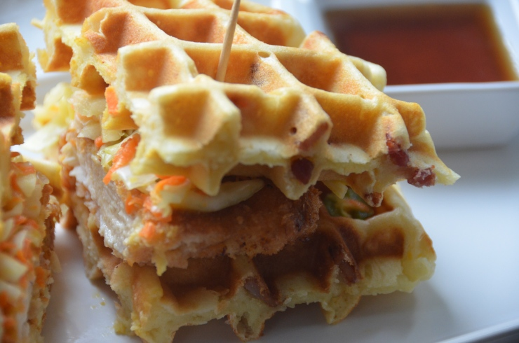chicken and bacon waffle sandwich