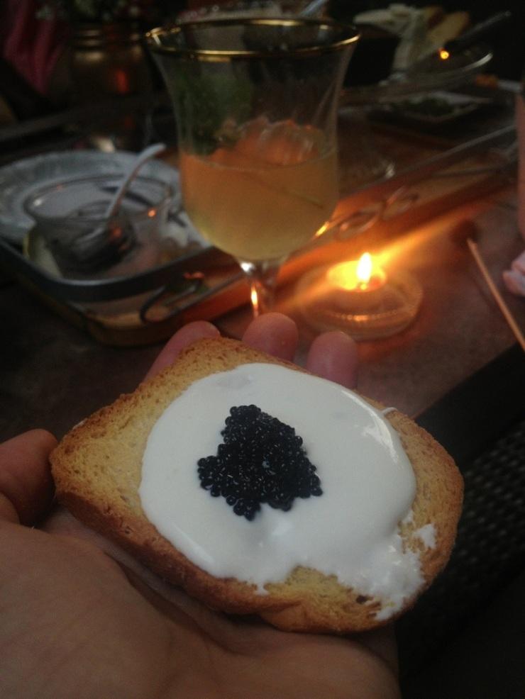 Caviar and Creme Fraiche on Toasted Brioche