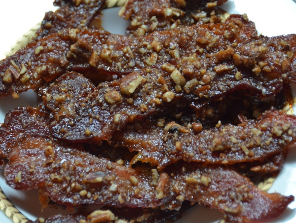 maple glazed bacon with pecans