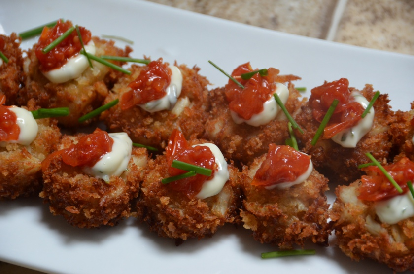 Mini Crab Cakes with Sweet Tomato Jam and Tarragon Mayo