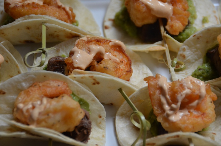 Mini Tacos with Guacamole Steak and Tecate battered Shrimp with Chipotle Crema
