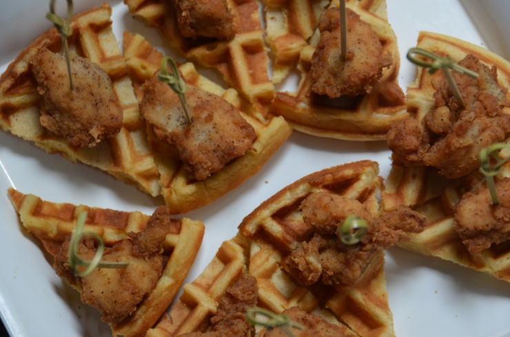chicken and buttermilk cornmeal waffles