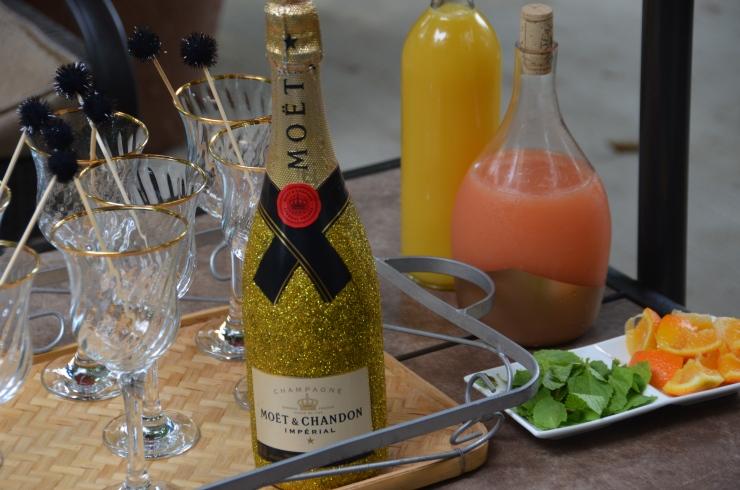 glitter moet champagne bottle