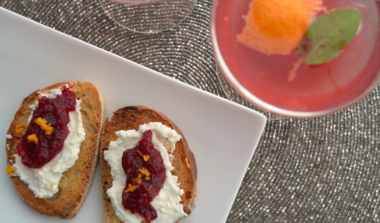 crostini with cranberry compote and ricotta