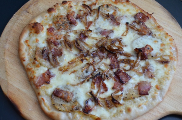 Bacon and Potato Pizza with Caramelized Onion and Roasted Garlic Cream Sauce