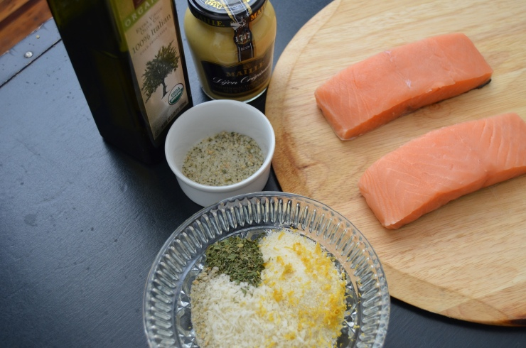 ingredients for panko and parmesan crusted salmon