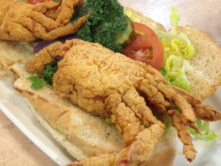 deanie's soft shell crab po boy