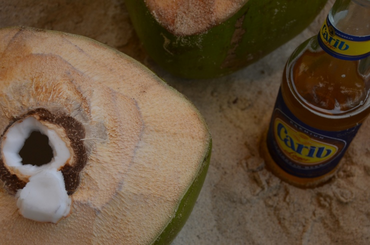 carib and coconut water on the beach