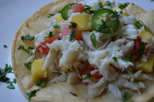 crab tostada with mango