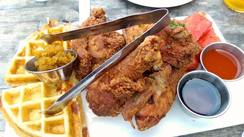 chicken and waffles at yardbird maimi